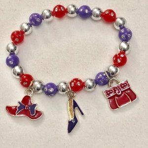 Brand New Women's Bracelet Red Hat/Heel/ Purse!